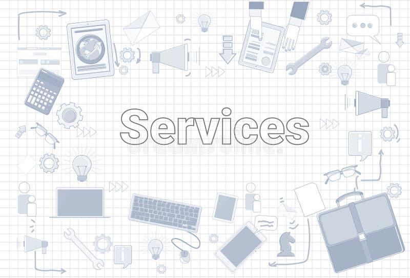 Serviceord med kontorsmaterialsymboler på kvadrerat begrepp för tillfredsställelse för bakgrundskundhjälp royaltyfri illustrationer