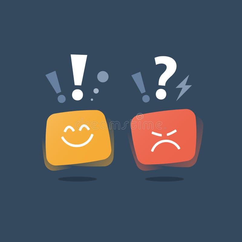Servicequalität, Meinungsumfrage, positives Denken, negatives Gefühl, schlechte Erfahrung, gutes Feedback, glücklicher Kunde, ung lizenzfreie abbildung