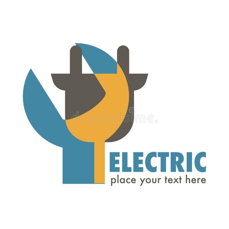 Services électriques ou icône d'isolement parélectricité d'identité d'entreprise de station illustration stock