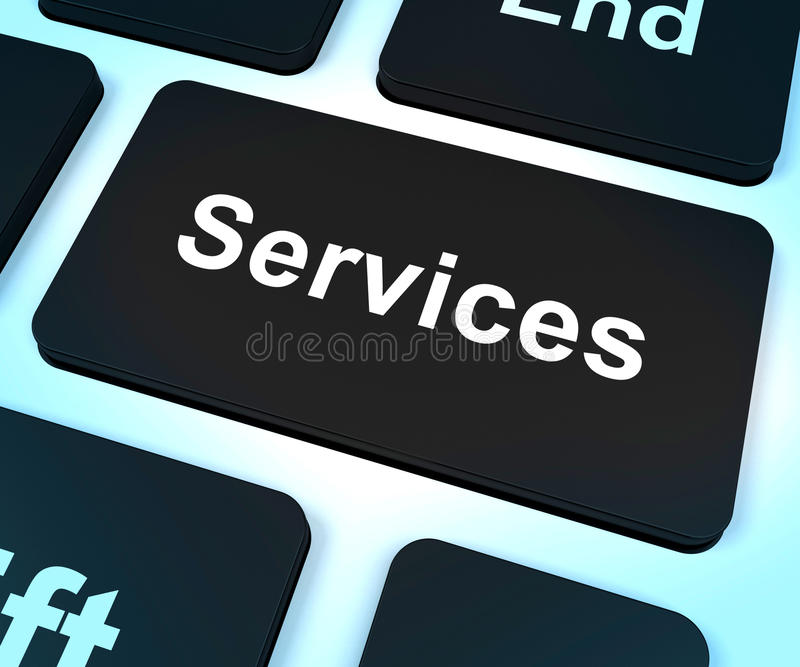 Services Computer Key Shows Help And Assistance stock illustration