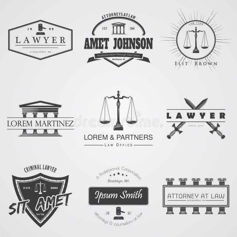 Services d'avocat Cabinet juridique Le juge, le Procureur de la République, l'ensemble d'avocat de labels de vintage Échelles de  images stock