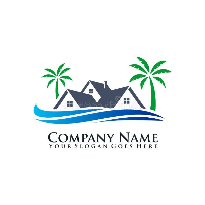 Services d'ensemble immobilier privé dans le logo de régions côtières illustration libre de droits