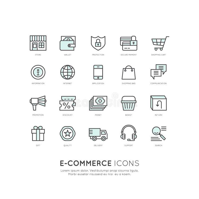 Services d'expédition et achats d'équipements, livraison et concept en ligne de retours, de commerce électronique et de m-paiemen illustration de vecteur
