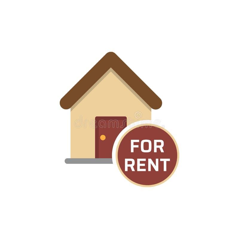 Services d'immobiliers, maison pour le signe de loyer, bulle de la parole avec le texte, propriété locative, loyer d'appartement, illustration libre de droits