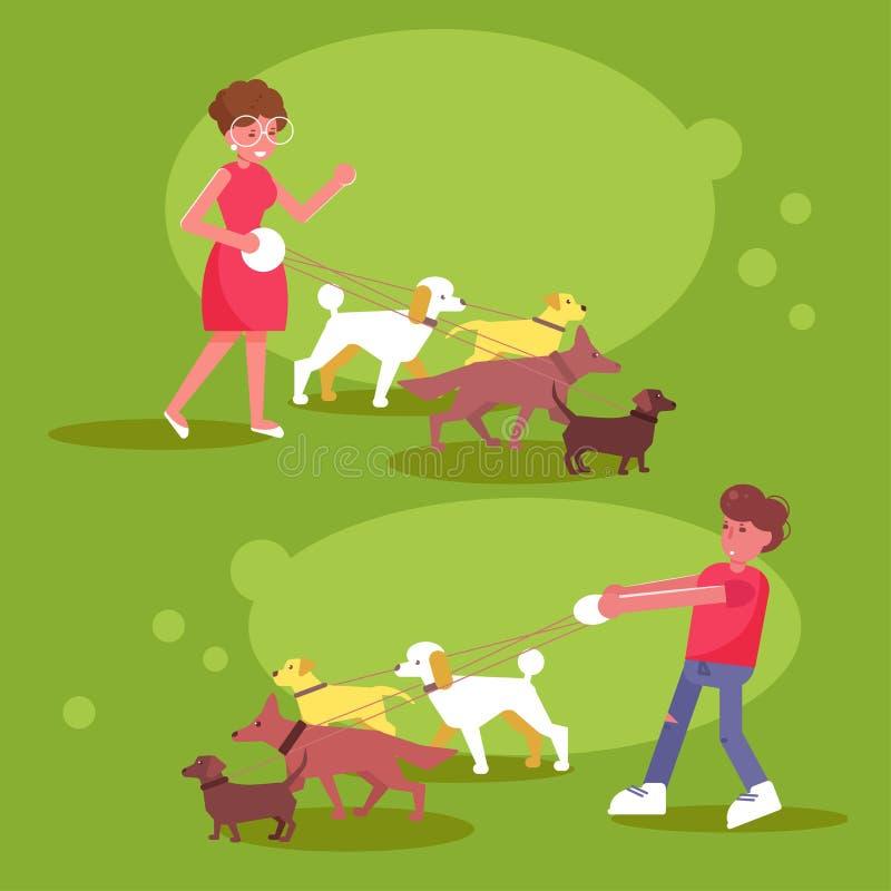 Services de marche femme de chien et promenade d'homme avec quatre chiens illustration libre de droits