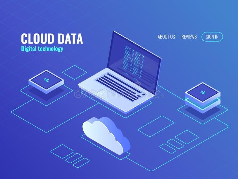 Services de stockage de données de nuage, icône isométrique de pièce de serveur, ordinateur portable avec le code de programme su illustration libre de droits