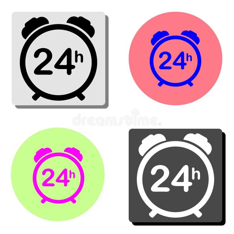 24 services disponibles réguliers d'heure Icône plate de vecteur illustration stock