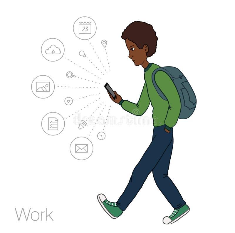 Services en ligne dans le smartphone - divertissement et affaires par l'intermédiaire des technologies de nuage illustration stock