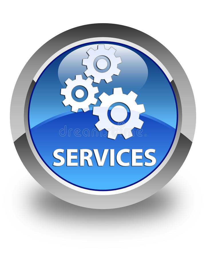 Services (gears icon) glossy blue round button vector illustration