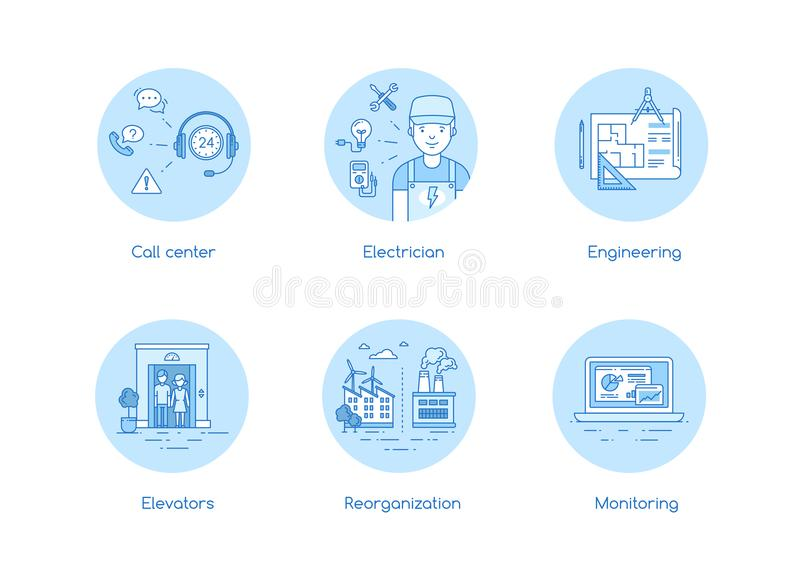 Services icon set in lineart style royalty free illustration