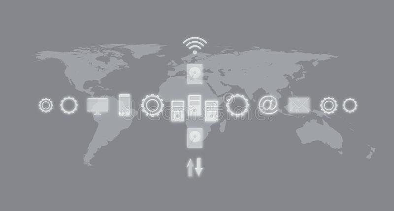 Services and Icons, Internet of Things, Networks, Communication. Business Concept With World Map In The Background stock illustration