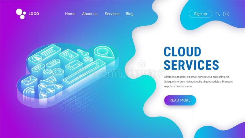 Services isométriques de nuage débarquant le néon illustration libre de droits