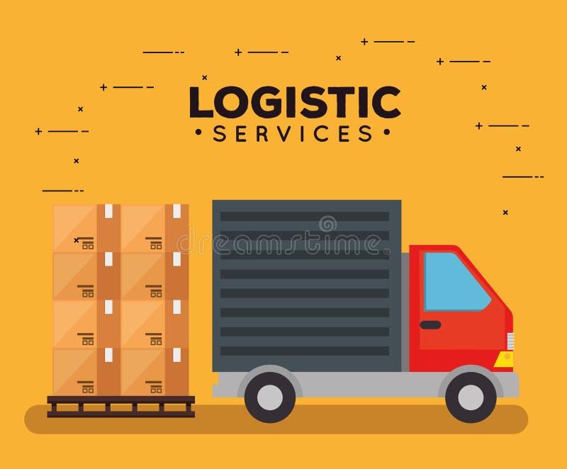 Services logistiques avec le camion illustration de vecteur
