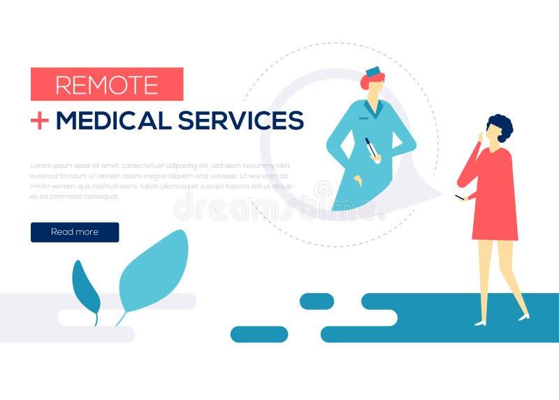 Services médicaux à distance - bannière plate colorée de Web de style de conception illustration libre de droits