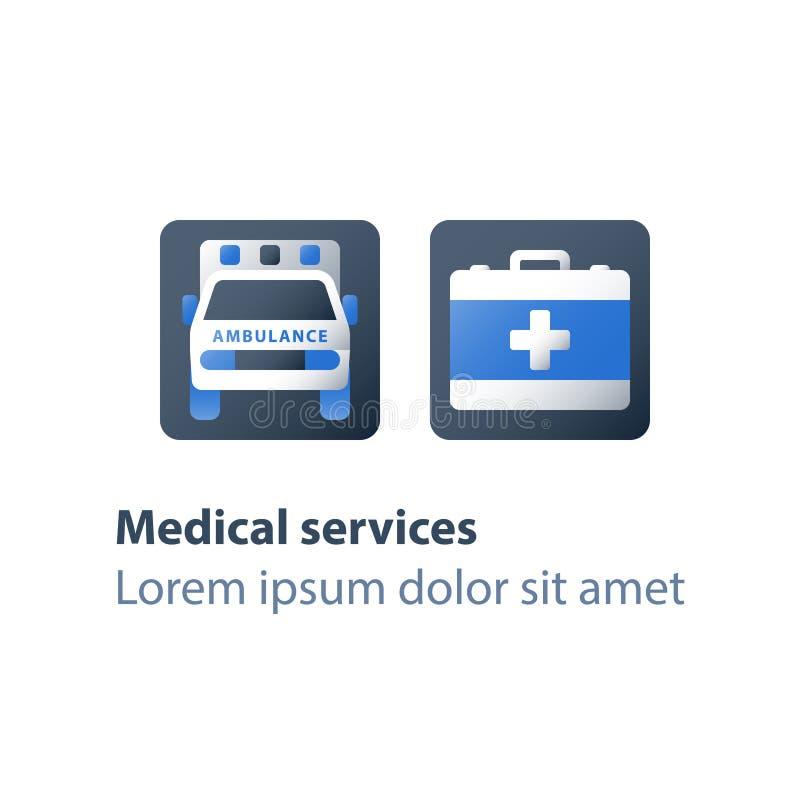 Services médicaux, ambulance d'hôpital, soins de santé, voiture de secours, relocalisation et hospitalisation illustration stock