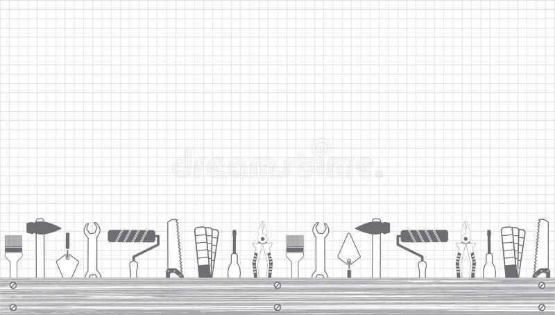 Services professionnels de bricoleur Dirigez le calibre de bannière avec les outils collection et l'espace des textes Ensemble d' illustration stock