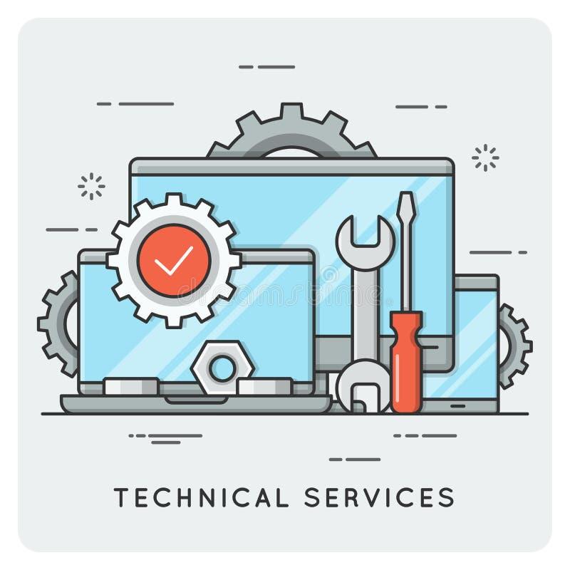 Services techniques Ligne mince concept illustration de vecteur