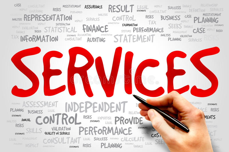 SERVICES. Word cloud, business concept stock photography