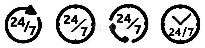 24/7 servicesymbol Enkel cirkel-/klockateckning med text Fyra olika versioner vektor illustrationer