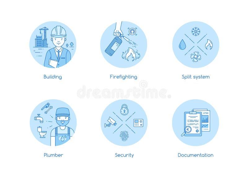 Servicesymbolsuppsättning i lineartstil stock illustrationer