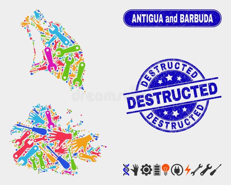 Servicio Antigua y mapa de Barbuda y filigranas Destructed rasguñadas libre illustration
