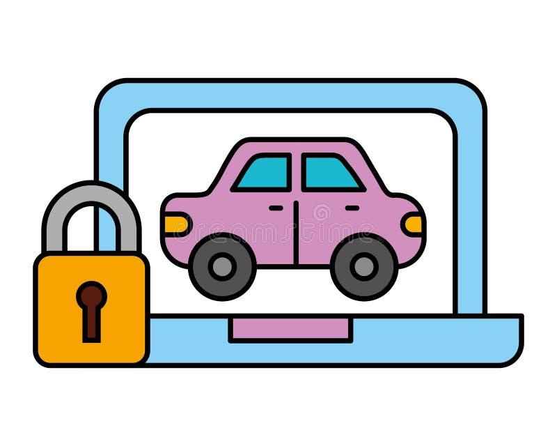 Servicio automotriz de la seguridad del transporte del vehículo del coche del ordenador portátil stock de ilustración