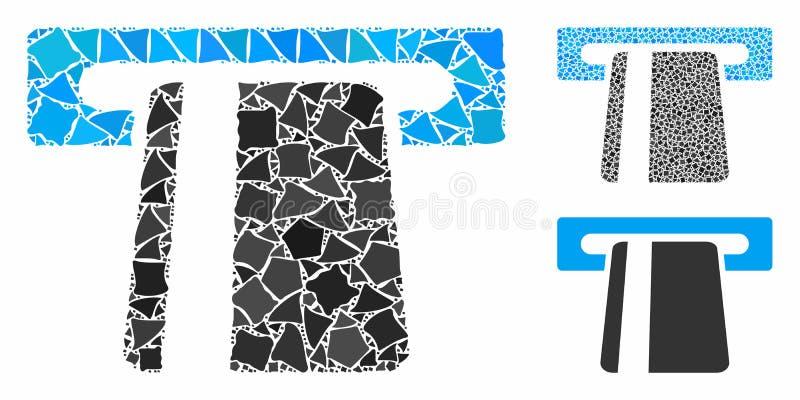 Servicio bancario automatizado Icono mosaico de piezas desiguales stock de ilustración