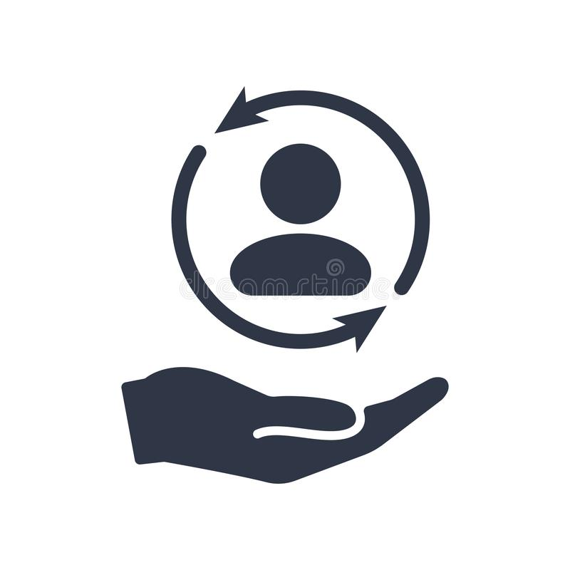Servicio completo del cuidado del cliente - icono mínimo del vector libre illustration