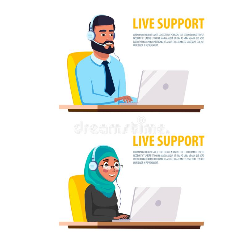 servicio de atención al cliente musulmán del centro de atención telefónica de la historieta ilustración del vector