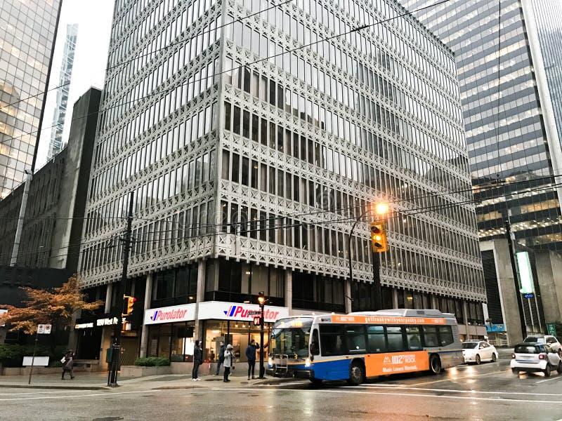 Servicio de autobuses de Translink, Vancouver céntrica, Columbia Británica imagen de archivo