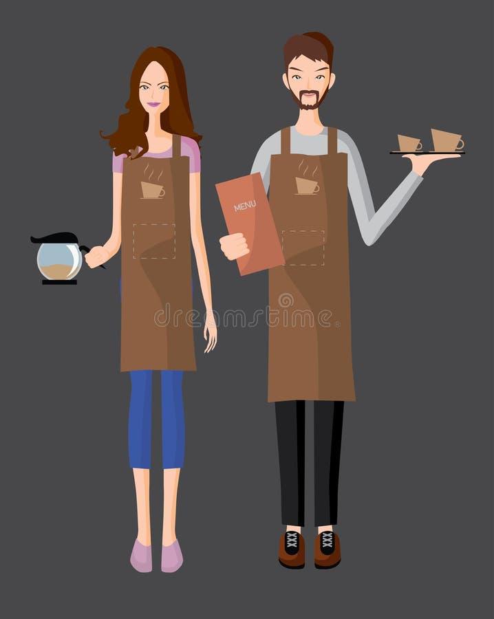 Servicio de Baristas un café stock de ilustración