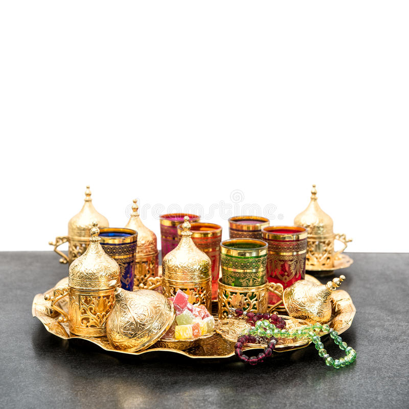 Servicio de café árabe del té de la decoración de los días de fiesta del kareem del Ramadán