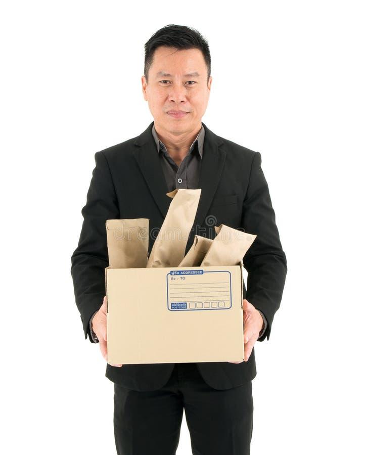 Servicio de entrega del hombre de negocios, correo, logística y concepto de envío - aislados en el fondo blanco fotos de archivo libres de regalías