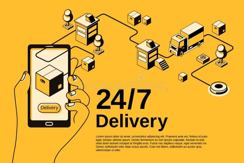 Servicio de entrega 24 ejemplo del tono medio de 7 vectores libre illustration