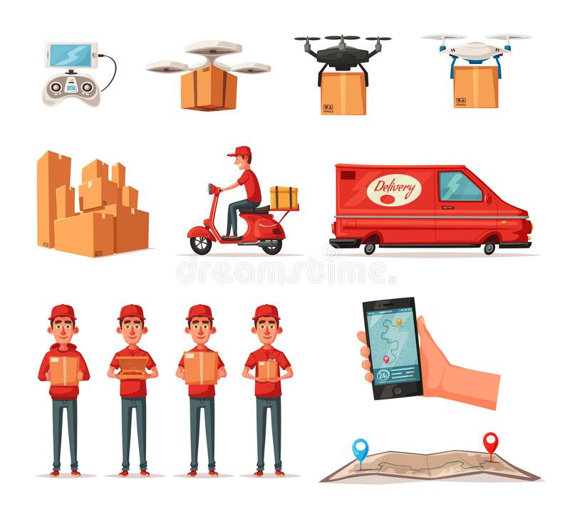 Servicio de entrega en furgoneta, vespa, abejón Coche para la entrega del paquete Ilustración del vector de la historieta libre illustration