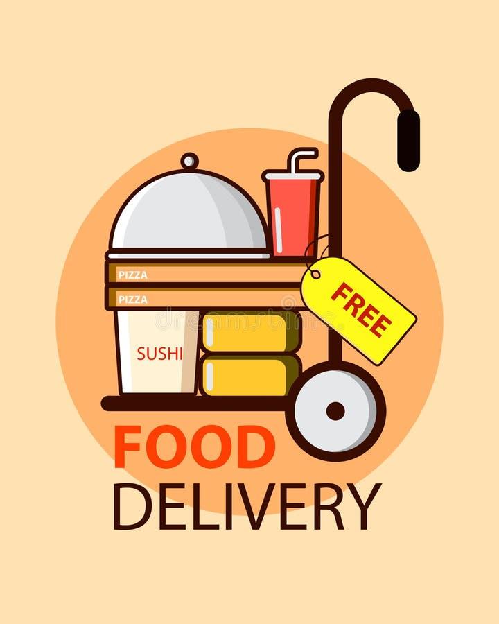 Servicio de entrega libre de la comida en estilo plano con las cajas, la pizza y el sushi de la comida Dise?o del ejemplo del vec ilustración del vector