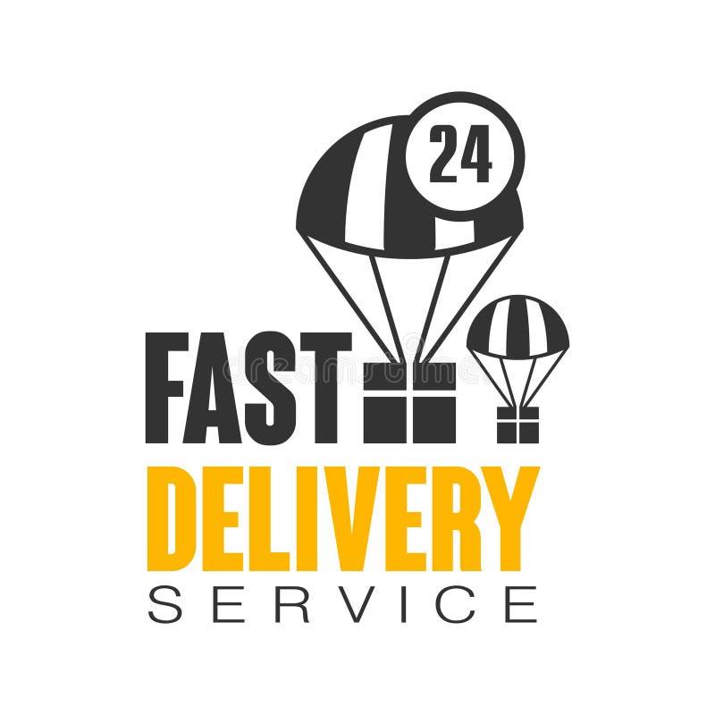 Servicio de entrega rápido 24 horas del logotipo de plantilla del diseño, ejemplo del vector en un fondo blanco ilustración del vector