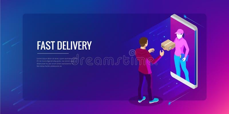 Servicio de entrega rápido isométrico, entrega en línea, compras en línea, concepto de la bandera del web del instrumento de las  stock de ilustración