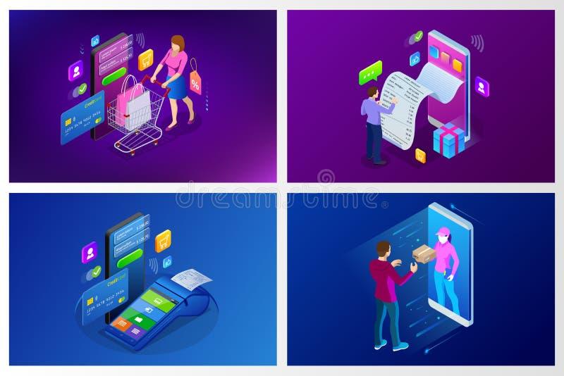 Servicio de entrega rápido isométrico, entrega en línea, compras en línea, concepto de la bandera del web del instrumento de las  libre illustration