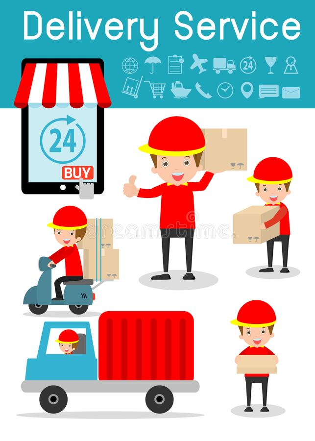 Servicio de entrega, sistema del hombre de entrega, gente plana del carácter del diseño moderno, concepto del negocio de la entre ilustración del vector