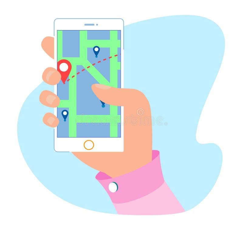 Servicio de GPS y uso móvil del mapa de la navegación ilustración del vector