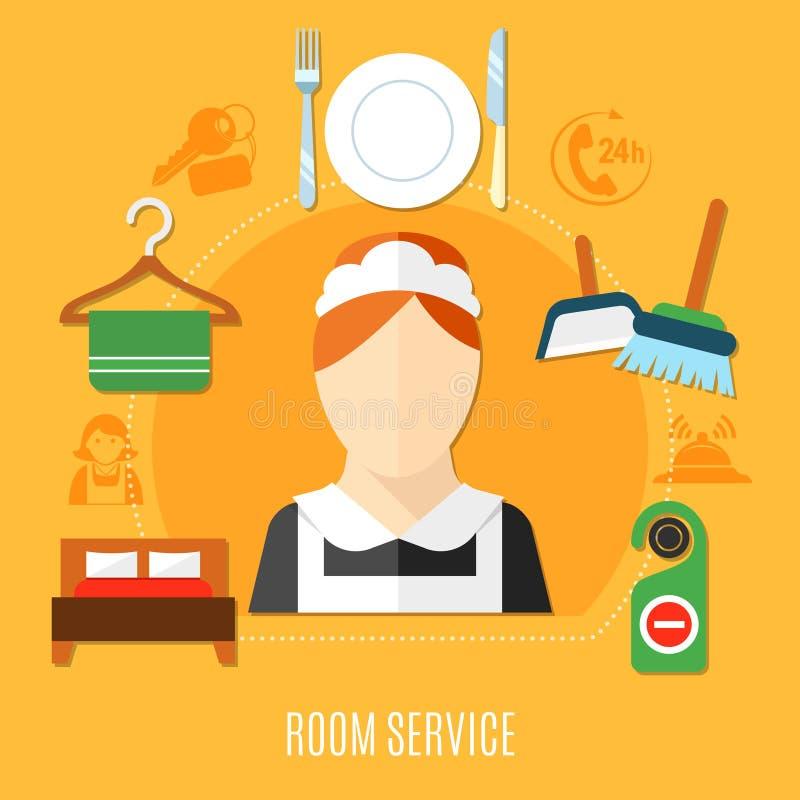 Servicio de habitación en hotel ilustración del vector