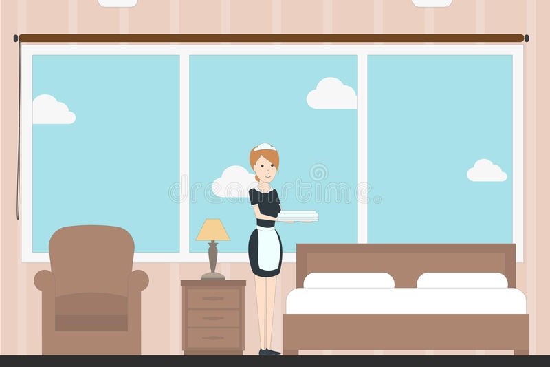 Servicio de la habitación ilustración del vector