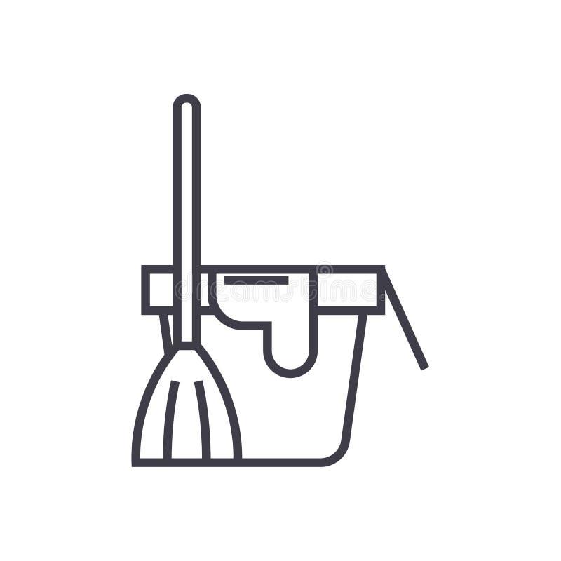 Servicio de la limpieza, cubo con una línea icono, muestra, ejemplo del vector de la escoba en el fondo, movimientos editable stock de ilustración