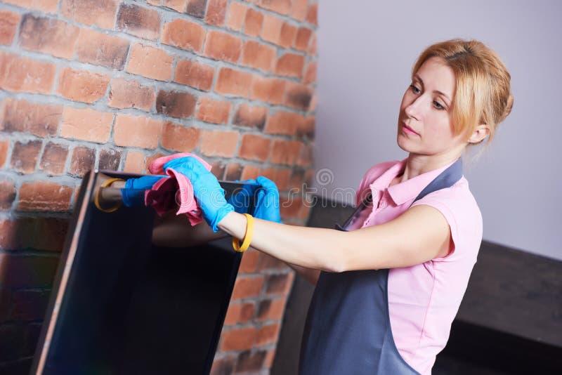 servicio de la limpieza sala de estar limpia de la mujer fotografía de archivo libre de regalías