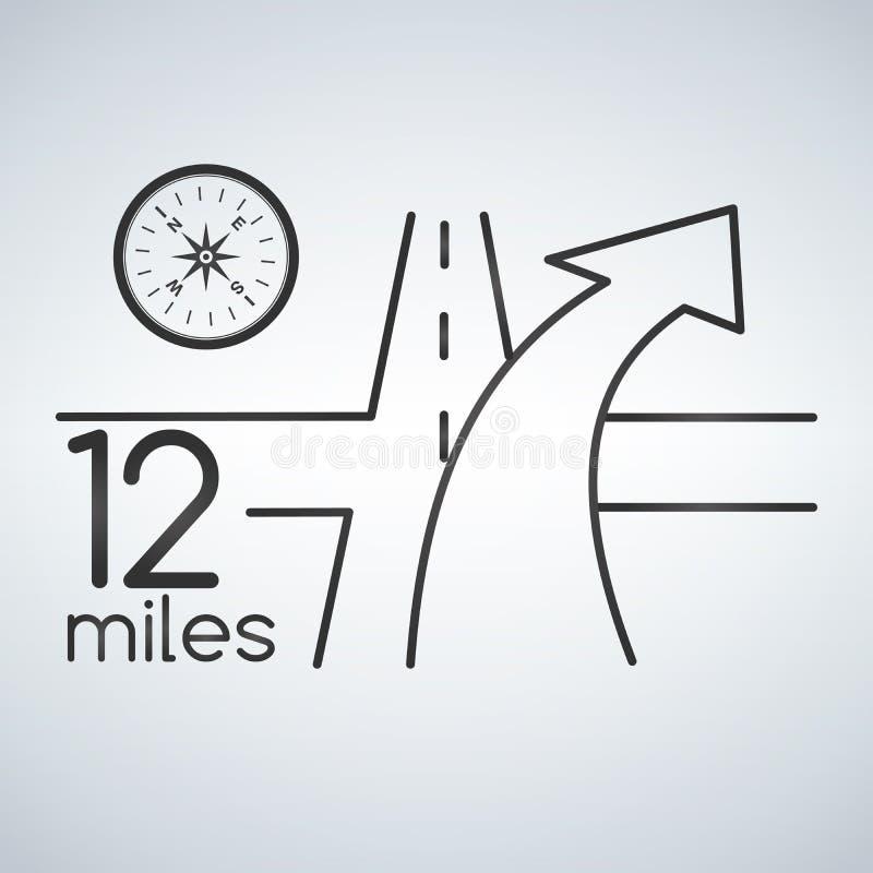 Servicio de la navegación GPS con concepto del compás mapa de camino 3D con la flecha los gps mantienen para el illustratio de la libre illustration