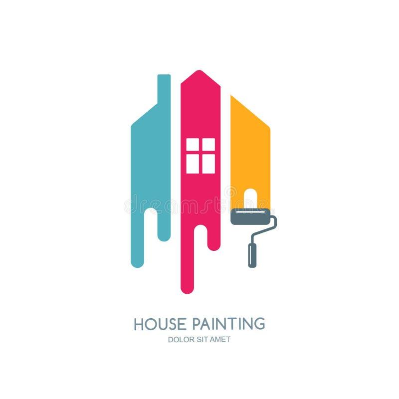 Servicio de la pintura de casa, decoración e icono multicolor de la reparación Logotipo del vector, etiqueta, diseño del emblema ilustración del vector