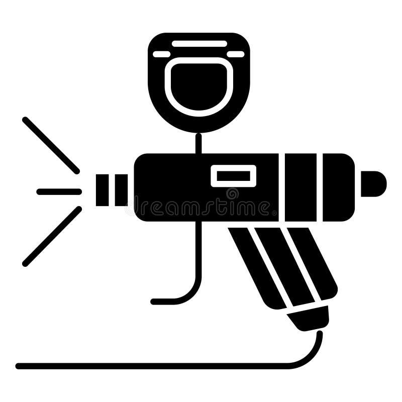 Servicio de la pintura - icono del coche, ejemplo del vector, muestra negra en fondo aislado stock de ilustración