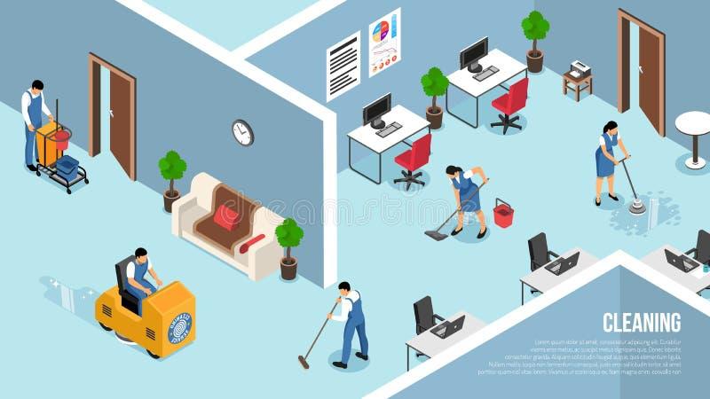 Servicio de limpieza comercial isométrico stock de ilustración