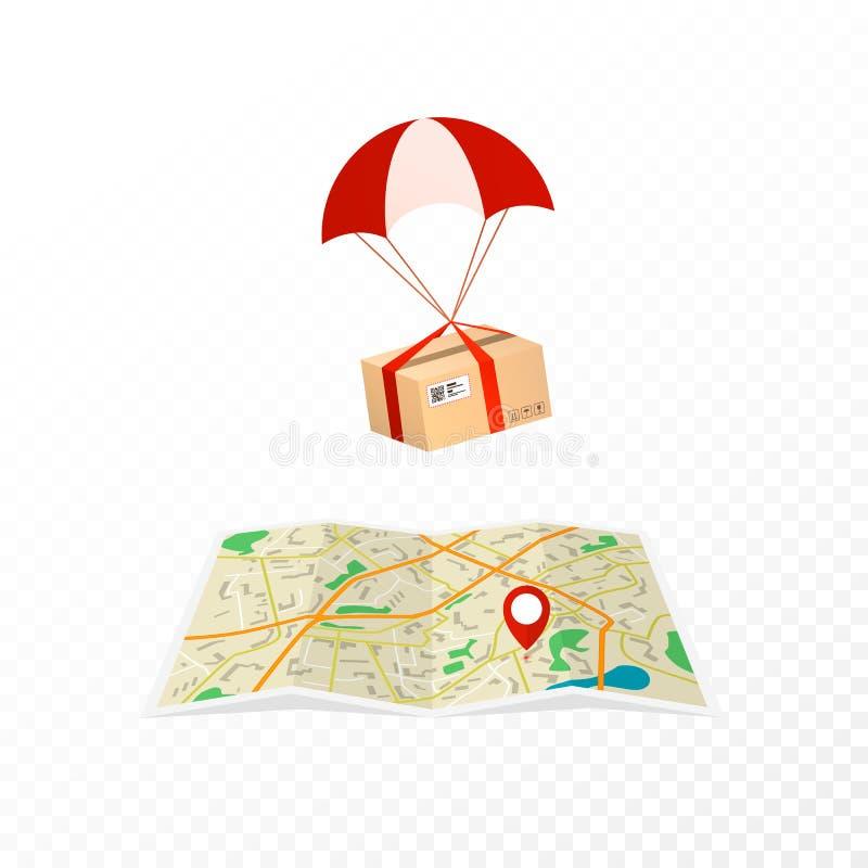 Servicio de mensajero del concepto Paquetes logísticos y de la entrega El paquete vuela al destino en el mapa ISO plana del ejemp stock de ilustración